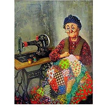 5D Diy Pintura Diamante Mujeres Máquina De Coser Cuadrado Completo Taladro Redondo Diy Bordado De Diamantes Punto De Cruz Mosaico 30x40 cm: Amazon.es: Hogar