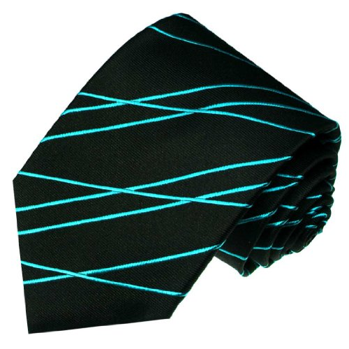 LORENZO CANA - Luxury Italian 100% Silk Black Cyan Bluegreen Striped Necktie - 84444