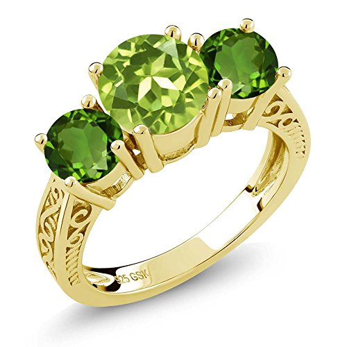 Gem Stone King 2.35 Ct Green Peridot Chrome Diopside 18K Yellow Gold Plated Silver 3-Stone Ring (Size ()