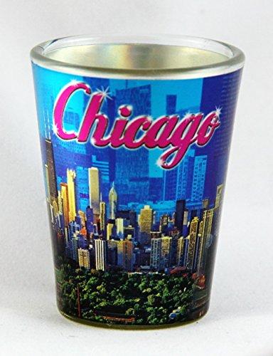Chicago Illinois Blue Metallic Collage Shot Glass ctm