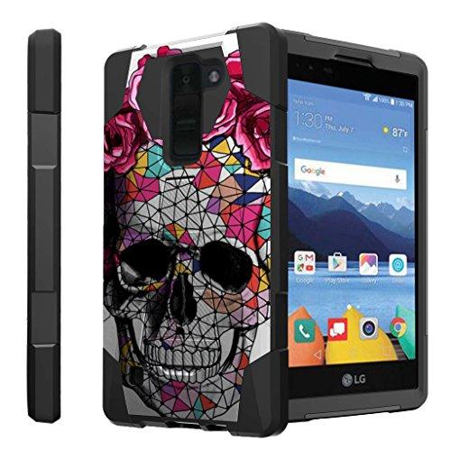 [해외]LG K8V 하드 케이스에 대 한 untouchble 케이스 | LG K8 V에서 버라이존 VS500 세대 케이스 [트래블러 시리즈] 충격 방지 하이브리드 2 레이어 케이스 킥 스탠드 케이스-꽃 추상화 해골 / Untouchble Case for LG K8V Hard Case| LG K8 V from Veriz...
