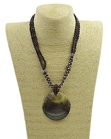 Women's WildLife Brown Coconut Black Mop Shell Necklace (Black Mop Shell) - Coconut Shell Pendant