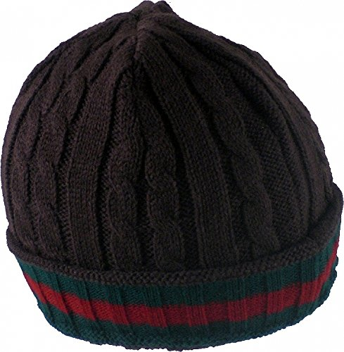 Cultural Exchange Chunky Rib Cable Knit Red & Green Stripe Mens Ski Beanie Cap [Brown]