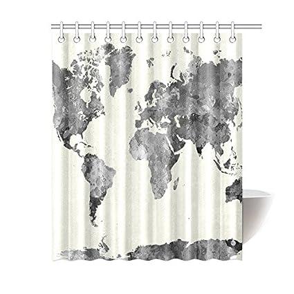 Amazon INTERESTPRINT Grey Globe Art Home Bath Decor World Map