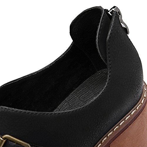 Scarpe Da Ginnastica Moda Donna Blocco Tacco Grosso In Pelle Scarpe Punta Rotonda Cerniera Posteriore Scarpe Casual Nere