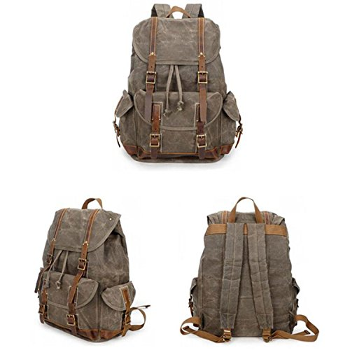 Retro Travel Men's Crazy Waterproof Canvas Bag Backpack Outdoor Oil Black Horse Wax rr0zqw
