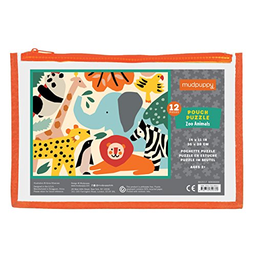 "Colorful Zoo Animal - Mudpuppy Zoo Animals Pouch Puzzle, 12 Extra Thick Colorful Pieces, 14""x11"" – Great for Kids Age 2-4 – Perfect for Travel – Helps Develop Hand-Eye Coordination - Packaged in Secure, Reusable Pouch"