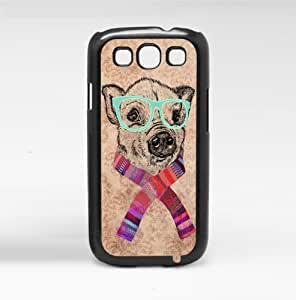 Cute Little Hipster Piggy in Teal Glasses and Colorful Spring Scarf Hard Snap on Phone Case (Galaxy s3 III)
