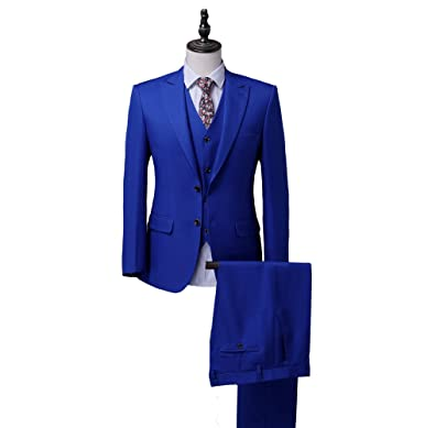 Botong Royal Blue Wedding Suits For Men 3 Pieces Jacket Vest Pants