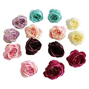 FANFLONA Silk Flowers in Bulk Wholesale 60 Flower Heads Silk Tea Rose Artificial Peony Flower Heads 39