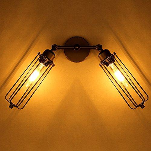 HTAIYN Vintage 2 Heads Loft Eisenkäfige Wandleuchte Edison Landhausstil Lampe popular