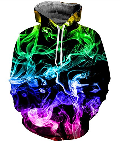 (Idgreatim Teens Boys Girls Funny Smoke Pullover Sweatshirt Long Sleeve Crewneck Hoodies Sweater S)