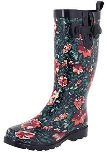 Capelli New York Ladies Spring Floral Printed Rain Boots Navy Combo 8