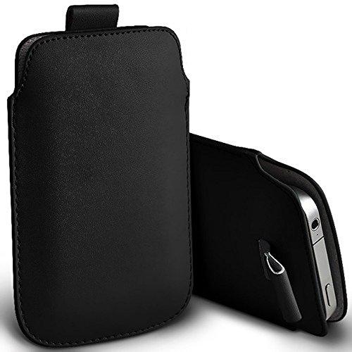 Pull Tab Nero PU Custodia protettiva in pelle-Custodia per Apple iPhone 4S, da Digi-Pig