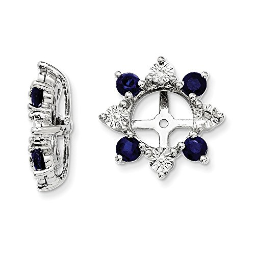 Mia Diamonds 925 Sterling Silver (.007cttw) Diamond and Simulated Sapphire Earring Jacket (13mm x 13mm) by Mia Diamonds and Co.