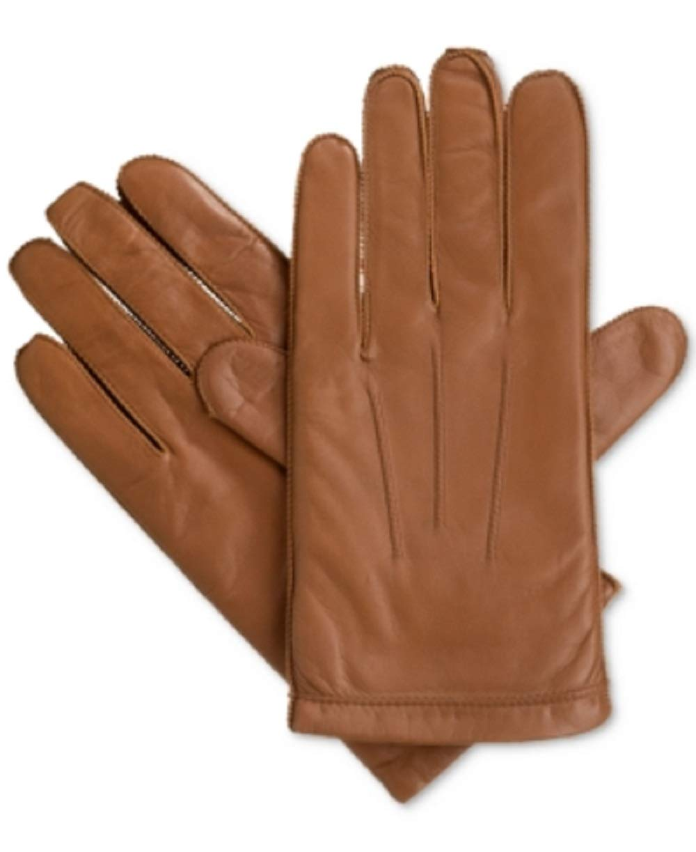 Isotoner Men's Smooth Leather smarTouch Gloves Tan Size Large