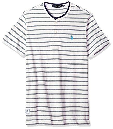 (U.S. Polo Assn. Men's Short Sleeve Henley Striped T-Shirt, White Winter Kjbl, S)