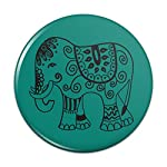 Painted Elephant India Black on Teal Compact Pocket Purse Hand Cosmetic Makeup Mirror