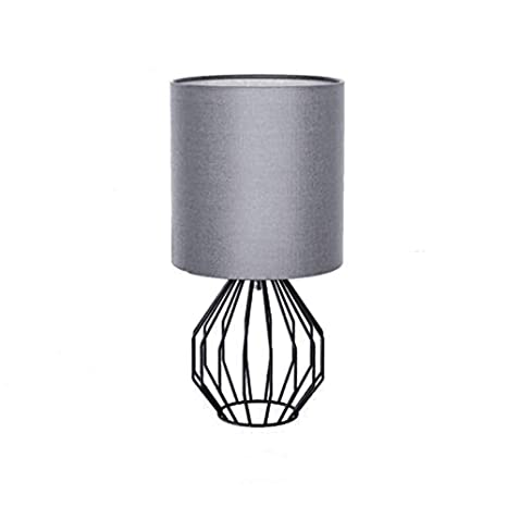 Kirin Table Lamp Plug In Modern Style Geometric Black Painted Metal Wire Cage Hollow Lamp Base E26 With Grey Fabric Drum Lamp Shades For Living Room