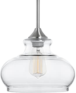 linea di liara ariella ovale clear glass onelight stem hung pendant lamp brushed - Brushed Nickel Pendant Light