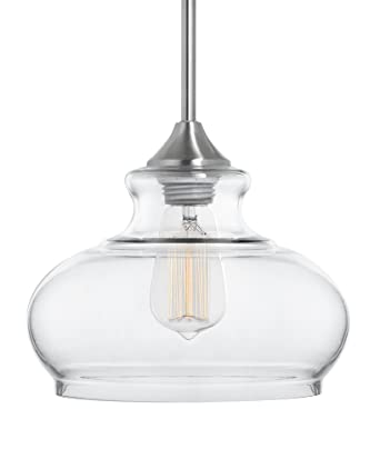 linea di liara ariella ovale clear glass onelight stem hung pendant lamp brushed - Clear Glass Pendant Light