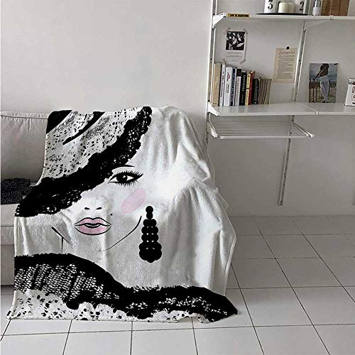 Ladies Charcoal Vault - maisi Teen Room Throw Blanket Baroque Abstract Woman Face and Patterned Hat Old Fashioned Design Velvet Plush Throw Blanket 60x36 Inch Charcoal Grey Pale Pink