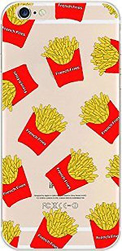 DECO FAIRY Compatible with iPhone 8 Plus / 7 Plus, Cartoon Anime Animated French Fries Seasoned herbs cheese dip sauce ketchup foodie series Transparent Translucent Flexible Silicone Clear Cover Case (Cheese Phone Case)