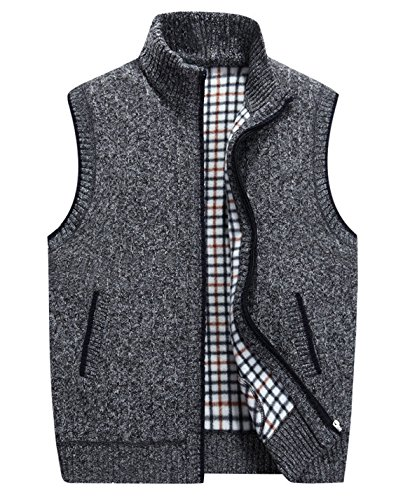 HOWON Men's Stand Collar Loose Zipper Sleeveless Knitted Cardigan Sweater Vest Outwear Jacket Dark Grey (Drawstring Wool Sweater)