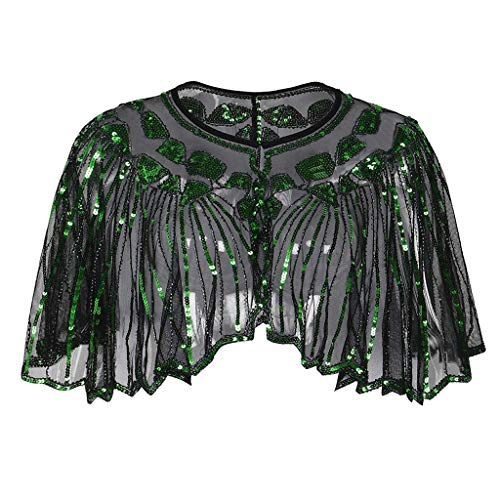 ANJUNIE Women's 1920s Shawl Beaded Sequin Deco Evening Cape Bolero Flapper Cover up Tops(Green,Freesize)
