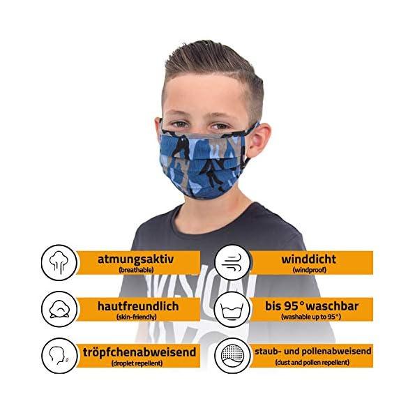 Facetex-2er-Pack-Mundschutz-Kinder-Junge-Mdchen-waschbar-Camouflage-blau-aus-100-Baumwolle-Oeko-TEX-100-Standard-Earloop-Design-Wiederverwendbare-Behelfs-Maske-Mund-und-Nasenschutz-Ab-6