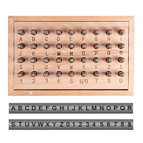 PandaHall Elite 36pcs 1.5mm(1/16 inch) Iron Number Alphabet Punch Sets, Uppercase Alphabet A to Z, Number 0 to 8 and Symbol & Metal Stamp Punch Tool Kit for DIY Jewelry Making, Black