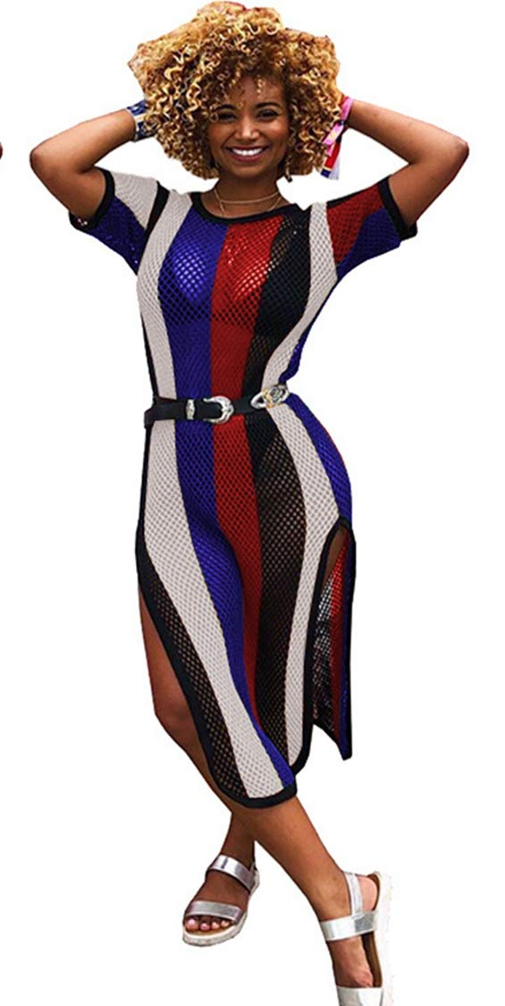 Beach Cover up Womens Round Neck Short Sleeves Colorful Rainbow Stripe Side Split Fishnet Cover up (XL, Rainbow2)