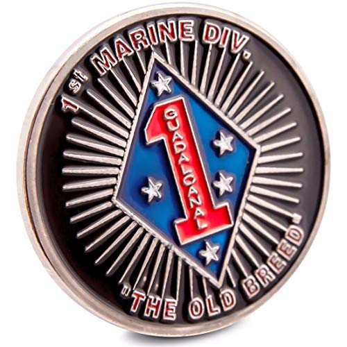 Art Crafter USMC 1st MARDIV The First 1st Marine Division Challenge Coin The Old Breed Badge Blue Diamond US1 - Marine Division Challenge Coin