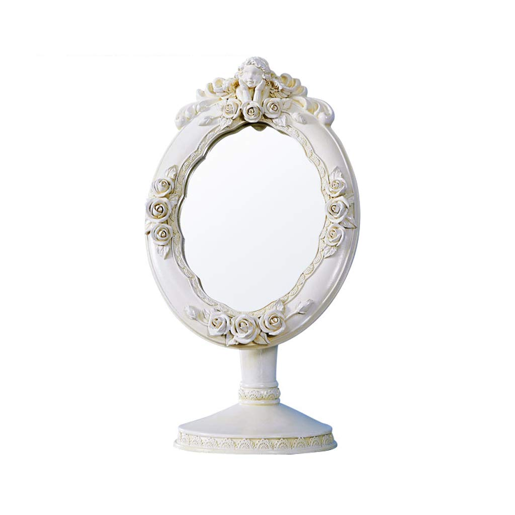 C&Q CQ Simple European-Style Desktop Mirror Countertop Portable Fashion Cute Princess Dressing Mirror Carved Pink Lily Base Mirror
