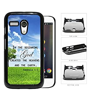 Genesis 1:1 Bible Verse with Tree & Sky Background [Motorola (Moto G)] Hard Snap on Plastic Cell Phone Cover