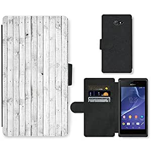 PU Cuir Flip Etui Portefeuille Coque Case Cover véritable Leather Housse Couvrir Couverture Fermeture Magnetique Silicone Support Carte Slots Protection Shell // V00001989 perfecta textura de madera blanca // Sony Xperia M2 D2303 D2305 D2306