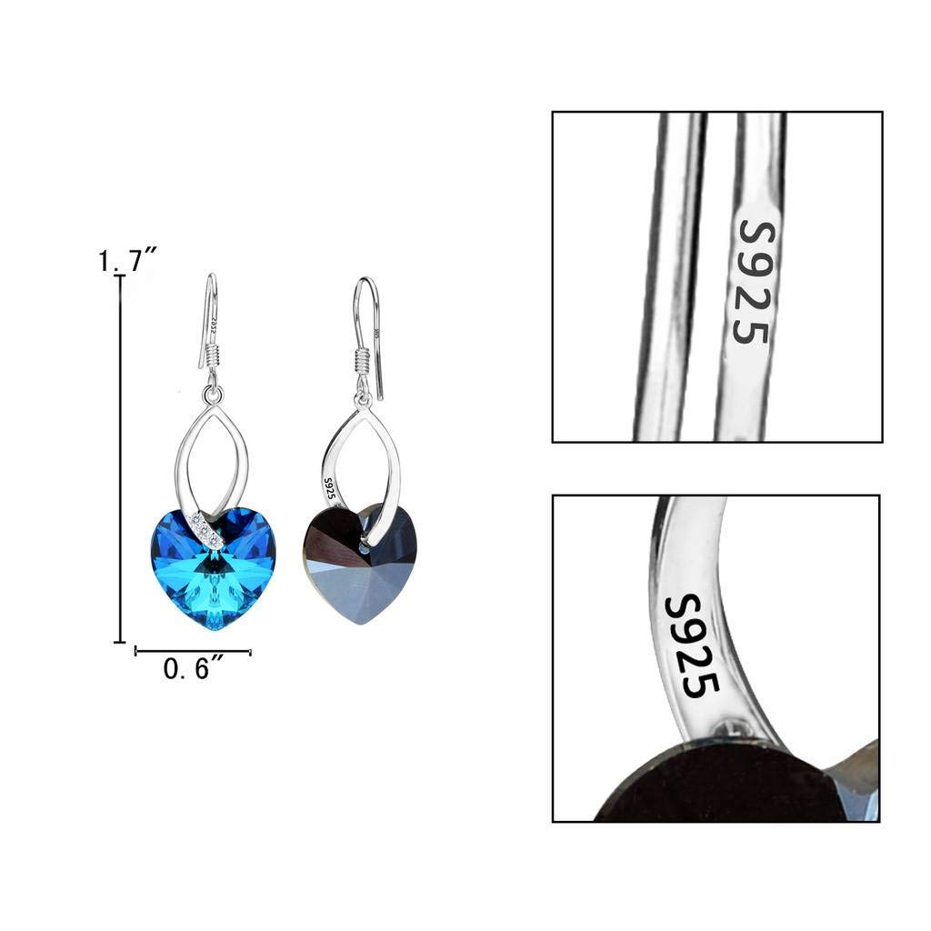 EleQueen 925 Sterling Silver CZ Love Heart French Hook Dangle Earrings Bermuda Blue Made with Swarovski Crystals by EleQueen (Image #5)
