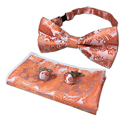 Men's Kids Orange Silver Party Bow Ties Jacquard Woven Self Cravat Suit Bowties from Ctskyte