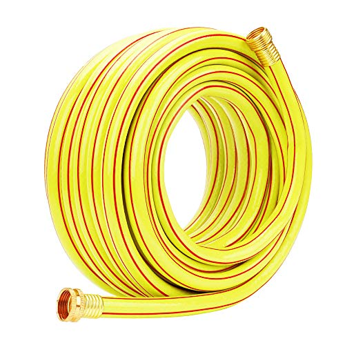 Homes Garden Hose Heavy Duty 5/8 inch Garden Hose 50 ft Yellow Water Hose Commercial Light Brass Coupling Fittings for Household, Industrial 5 Years Warranty #G-5202 ()