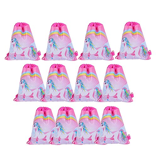 - Joylish 12 Pack Unicorn Party Drawstring Bags Party Favors for Kids Goodies Backpack, #2