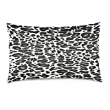 ALAZA White and Black Animal Skin Print Texture Cotton Lint Pillow Case,Protector Soft and Comfortable Pillowcase Size 20''x36'',for Bedroom Living Room