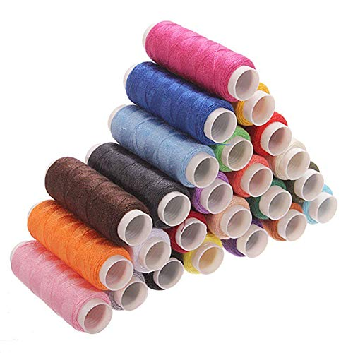 YaptheS 24 PCS Multi-Coloured Yarn Thread Sew Thread Spool Spools for Sewing Machine 200 m Office Supplies