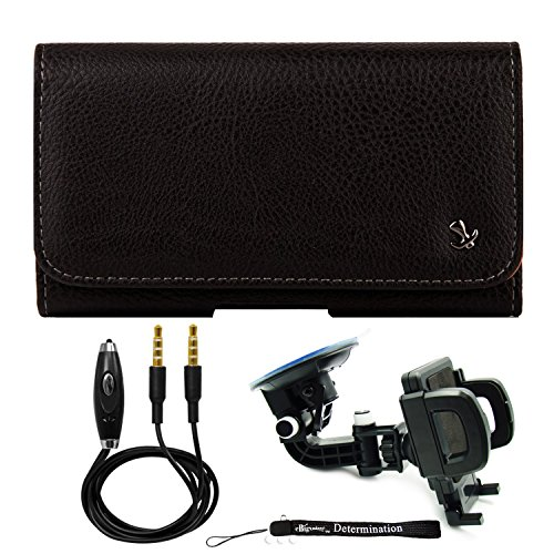 Protective Leather Hip Holster for Huawei Y7 Pro / Y7 Prime / Y5 / Y3 / Mate 20 / Mate 20 Pro/Honro V20 / P20 + Windshield Car Mount & AUX Cable (Classic Mini Best Shock Absorbers)