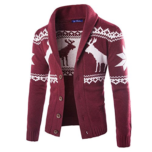 - WUAI 2018, Mens Christmas Ugly Sweater Cardigan Winter Warm Knitwear Coat Jacket (Wine Red,US Size L = Tag XL)