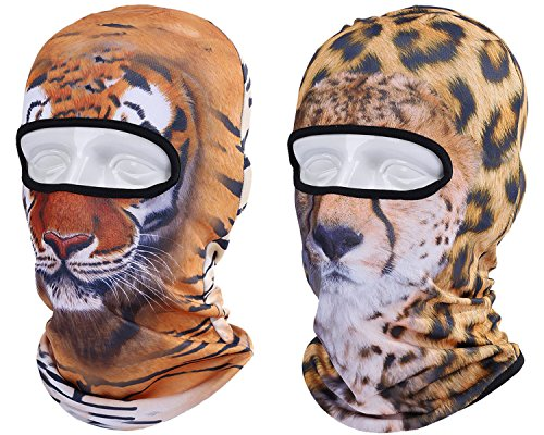 Animal Balaclava Face Mask For Outdoor Sports Motorcycle Cycling Snowboard Hunting Ski 3D Animal Design Cat Dog Tiger Lion Leopard (Pack Of 2) (Painted Lion Faces For Halloween)
