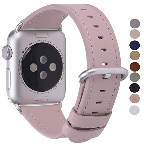 PEAK ZHANG Compatible with Apple Watch Band 38mm/40mm 42mm/44mm Women Men Top Grain Leather Replacement Strap for iWatch Series 4,3,2,1,Sport,Edition(Soft Pink/Silver Aluminum,42mm 44mm - Series 0620