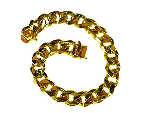 14kt Yellow Gold Mens Bracelet - 14Kt Solid Yellow Gold Heavy Handmade Curb Link Mens Bracelet 11Mm