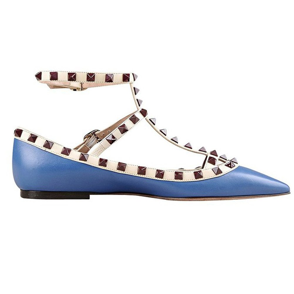 VOCOSI Women's Ankle Strap Studded Pointed Toe Pumps Rivets T-Strap Flat Pumps Dress B0794VB7XY 8.5 B(M) US|Blue(manmade Leather With Wine Rivets)