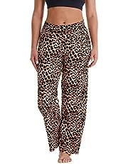 Gayhay Women's Comfy Stretchy Pajama Pants Wide Leg Print Palazzo Lounge Pants Drawstring (Leopard, XL)