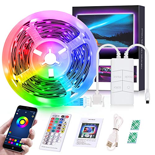 Yikubee LED Strip Light 16.4ft,TV Led Backlight,USB Powered RGB 5050 Color Changing Flexible LED Tap Lights 40 Keys Remote & Bluetooth App Control Music Sync Apply for Party, Bedroom,Bar & Home